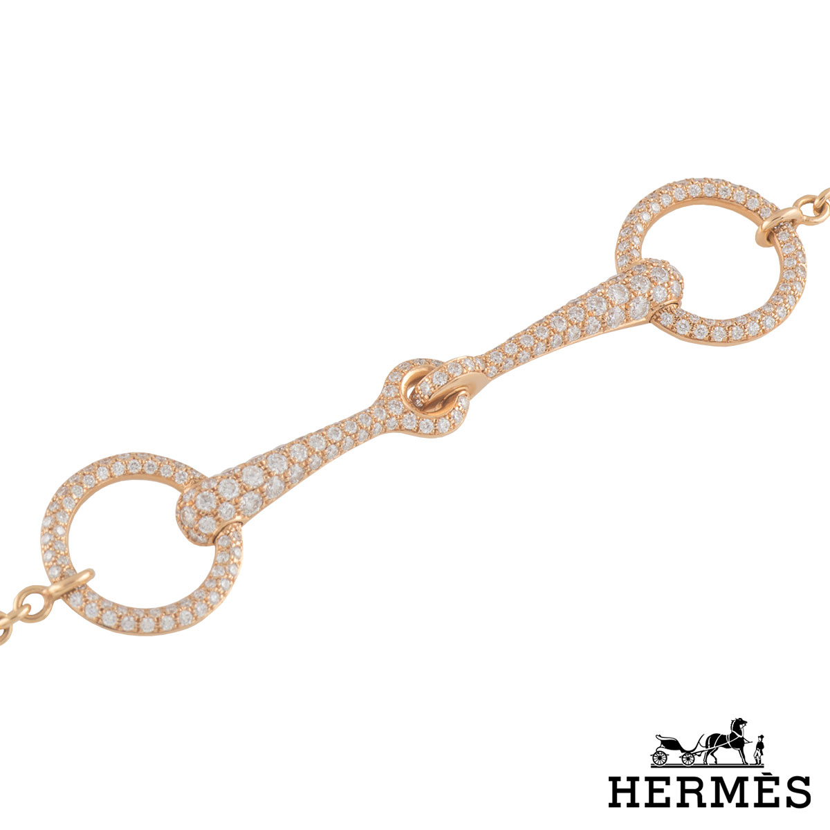 Hermes Rose Gold Diamond Bracelet 0.96ct